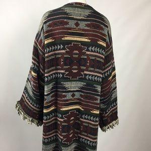 Blanket Coat Southwestern Weave Large